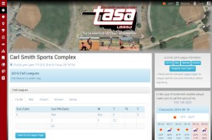 tasasoftball.com website snapshot.